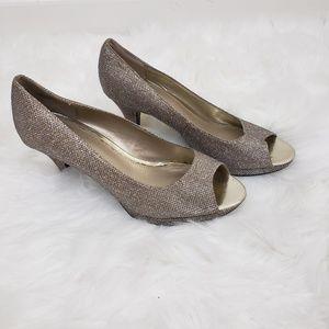 Bandolino Rainaa Peep Toe Pumps Gold Glamour Heels